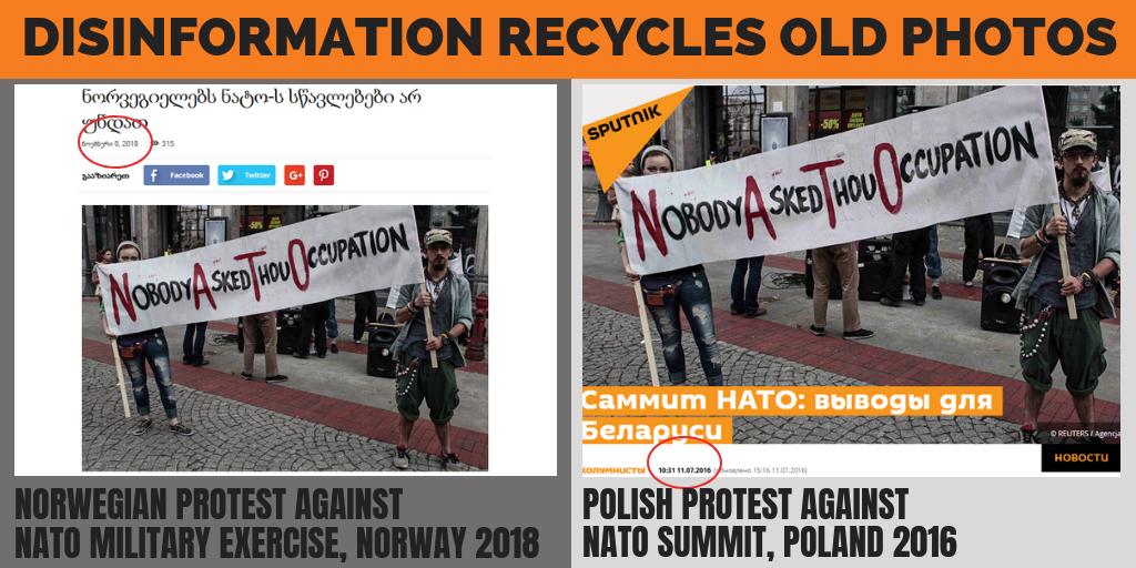 Dezinfoweby informovali o nórskych protestoch proti cvičeniu NATO, pomohli si dva roky starou fotkou z Poľska