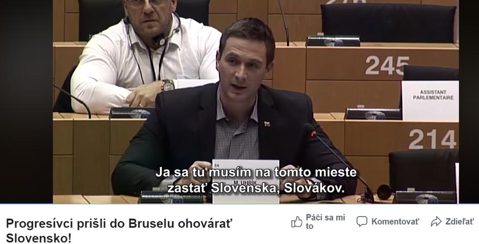 Uhrík pokračuje v manipulácii, zverejnil zostrihané video z europarlamentu