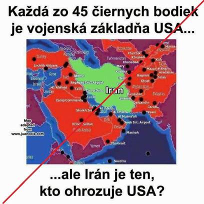 Falošná mapa s americkými základňami na Blízkom východe